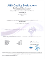 Brewster Washers ISO9001:2008 Certification
